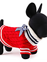 Cat Dog Sweater Christmas Dog Clothes Cute New Year\'s Color Block Red Blue Costume For Pets