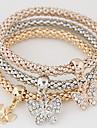 여성용 레이어드 / 스택 참 팔찌 - 라인석, 모조 다이아몬드 버터플라이, 동물 사치, 유럽의, 미니멀 스타일 팔찌 무지개 제품 선물 / 일상