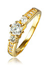 Women\'s AAA Cubic Zirconia Gold Plated 18K Gold Ring - For Wedding Party Daily Casual