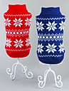 Cat Dog Sweater Dog Clothes Classic Christmas New Year\'s Snowflake Red Blue Costume For Pets