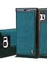 Кейс для Назначение SSamsung Galaxy S7 edge S7 Бумажник для карт Кошелек Флип Чехол Сплошной цвет Твердый Кожа PU для S7 edge S7