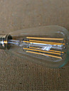 1pc 480-600lm E26 / E27 Ampoules a Filament LED ST64 6 Perles LED COB Decorative Blanc Chaud 220-240V