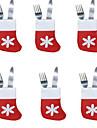 6PCS 크리스마스 칼 트레이 작은 양말 양말