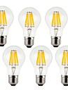 7W E26/E27 LED Filament Bulbs A60(A19) 8 COB 760 lm Warm White Cold White 2700/6500 K Decorative AC 220-240 V 6pcs