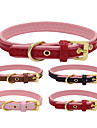 Dog Collar Adjustable / Retractable Handmade Casual Solid PU Leather Genuine Leather Black Brown Red Pink