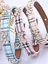 Cat Dog Collar Adjustable / Retractable Hands free Plaid/Check PU Leather Beige Blue Pink