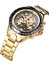 WINNER สำหรับผู้ชาย นาฬิกาเห็นกลไกจักรกล นาฬิกาข้อมือ วิศวกรรมนาฬิกา ไขลานอัตโนมัติ สแตนเลส ทอง 30 m กันน้ำ แกะสลักกลวง เรืองแสง ระบบอนาล็อก ความหรูหรา วินเทจ - ขาว สีดำ สีทอง / สีเงิน / Tachymeter