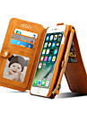 Case For iPhone 7 Plus iPhone 7 Apple Card Holder Wallet with Stand Flip Full Body Cases Solid Color Hard Genuine Leather for iPhone 7