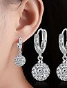 Women\'s Drop Earrings Ball Earrings AAA Cubic Zirconia Dangling Style Classic Costume Jewelry Silver Plated Alloy Round Jewelry For