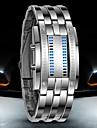 Hommes Montre Bracelet Montre numerique Numerique LED Etanche Acier Inoxydable Bande Luxe Noir Argent Noir Argent