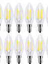 4W E14 LED Filament Bulbs C35 4 COB 400 lm Warm White Cold White 2700 6000 K Decorative AC 220-240 V 12pcs