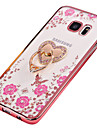 Case For Samsung Galaxy S7 edge S7 Rhinestone Plating Ring Holder Translucent DIY Back Cover Flower Soft TPU for S7 edge S7 S6 edge plus