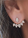 Women\'s Rhinestone Stud Earrings Front Back Earrings - Euramerican Fashion Teardrop For Party Daily