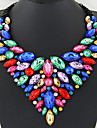 Women\'s Sapphire Crystal Bib Statement Necklace Bib necklace Crystal Statement Ladies Luxury European Shiny Red Green Blue Necklace Jewelry For Party Anniversary Birthday Daily