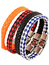 Men\'s Leather Bracelet - Leather Natural, Fashion Bracelet Jewelry Orange / Red / Blue For Special Occasion Gift Sports