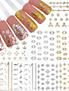 12Pcs/set New 3D Nail Sticker Gold and Silver Nail Sticker