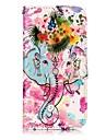 애플 아이폰 7 7 플러스 6s 6 플러스 5s 5 케이스 커버 코끼리와 꽃 패턴 광택 릴리프 푸 소재 카드 스텐 트 지갑 전화 케이스