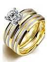 Γυναικεία Στρόγγυλα Band Ring Δαχτυλίδι Δαχτυλίδι αρραβώνων Τιτάνιο Ατσάλι κυρίες μινιμαλιστικό στυλ Μοντέρνα Νυφικό Μοδάτο Δαχτυλίδι Κοσμήματα Χρυσό Για / Σετ δαχτυλιδιών