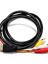 1.4 Adapter Cable,  1.4 to 3RCA Adapter Cable Male - Male 1.5m(5Ft)