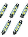 5шт двойные указательные светодиодные фонари 41мм 1w 3smd 5050 чип 80-100lm 6500-7000k dc12v световой индикатор ламп