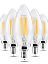 YWXLIGHT® 5pcs 4 W 300-400 lm E14 Luces LED en Vela C35 4 Cuentas LED COB Regulable / Decorativa Blanco Calido / Blanco Fresco 220-240 V / 5 piezas