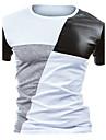 T-shirt Per uomo Attivo Collage, Monocolore Rotonda - Cotone In bianco e nero / Manica corta / Taglia piccola