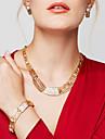 Femme Set de Bijoux Colliers Declaration Bracelet Boucles d\'Oreille Bague Bijoux Plaque or 18K or Mode Bijoux Fantaisie bijoux de
