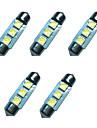 Lampe de dome de feston de voiture 5pcs 36mm 1w 3smd 5050 puce 80-100lm 6500-7000k dc12v lumiere de lecture lumieres de plaque