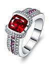 Women\'s Band Rings Synthetic Ruby AAA Cubic Zirconia Luxury Vintage Silver Circle Jewelry Wedding Engagement Ceremony Evening Party