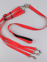 Leash Dog Double Leashes Safety Solid Nylon Black Red Blue