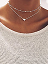 Women\'s Heart Choker Necklace  -  Basic Gold Silver Necklace For Wedding Party Birthday