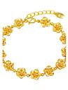 Mulheres Pulseiras em Correntes e Ligacoes Floral Flores Joias de Luxo Chapeado Dourado Formato de Flor Joias Para Casamento