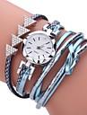 Women\'s Fashion Watch Simulated Diamond Watch Bracelet Watch Chinese Quartz Imitation Diamond PU Band Bohemian Elegant Casual Black White