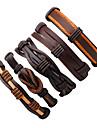 Men\'s Leather Bracelet Wrap Bracelet Multi-ways Wear Fashion Leather Line Irregular Jewelry Going out Street Costume Jewelry Brown