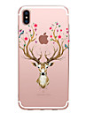 Pour iPhone X iPhone 8 Etuis coque Transparente Motif Coque Arriere Coque Animal Fleur Flexible PUT pour Apple iPhone X iPhone 8 Plus