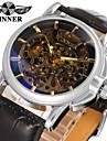 WINNER Hombre Reloj de Pulsera El reloj mecanico Cuerda Automatica 30 m Huecograbado Cool Piel Banda Analogico Lujo Vintage Casual Negro - Negro / Acero Inoxidable