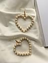 Women\'s Drop Earrings Simple Fashion Korean Imitation Pearl Alloy Heart Jewelry Daily Costume Jewelry