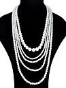 Žene slojeviti Ogrlice Duga ogrlica Imitacija bisera dame Moda Ogroman Obala Ogrlice Jewelry Za Svečanost Prom Obećanje Cosplay nošnje