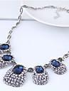 Women\'s Rhinestone Statement Necklace  -  Vintage Fashion European Geometric Dark Blue Necklace For Party
