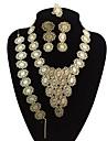 Dames Oversized Bloem Sieraden set 1 Ketting / 1 Armband / 1 Ring - Vintage / Oversized / Statement Goud Sieraden Set / Bangles /