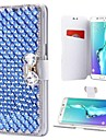Case For Samsung Galaxy Note 8 Note 5 Card Holder Rhinestone with Stand Flip Full Body Cases Solid Colored Hard PU Leather for Note 8