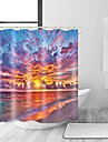 Shower Curtains & Hooks Casual Mediterranean Polyester Contemporary Novelty Machine Made Waterproof Bathroom