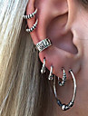 Geometric Clip Earrings / Ear Cuff - Vintage Silver For Evening Party / Masquerade