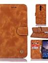 Кейс для Назначение Nokia Nokia 7 Plus Кошелек / Бумажник для карт / со стендом Чехол Однотонный Твердый Кожа PU для Nokia 7 Plus
