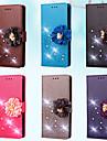 Carcasă Pro Samsung Galaxy S7 edge / S7 Peněženka / Pouzdro na karty / S kamínky Celý kryt Jednobarevné / Květiny Pevné PU kůže pro S7 edge / S7 / S5 Mini