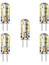 BRELONG® 5pcs 3 W 250 lm G4 LED 콘 조명 / LED Bi-pin 조명 T 24 LED 비즈 SMD 2835 장식 따뜻한 화이트 / 화이트 12 V