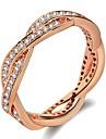 בגדי ריקוד נשים מסוגנן פְּלָצוּר טבעת הטבעת טבעת מצופה פלטינום משובץ זהב ורוד יהלום מדומה סופגניות גַל נשים טרנדי אופנתי Fashion Ring תכשיטים כסף / זהב ורד עבור