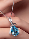 Women\'s Crystal Pear Cut Solitaire Pendant Necklace Silver Plated Drop Teardrop Ladies Fashion Elegant Red Blue Champagne Necklace Jewelry For Wedding Party Special Occasion Birthday Gift Daily