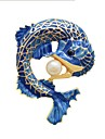 Women\'s Stylish Brooches - Imitation Pearl Fish Ladies, Stylish, Classic Brooch Jewelry Blue For Daily