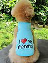 Honden / Katten Gilet Hondenkleding Hart / leuze Grijs / Blauw / Roze Katoen Kostuum Voor huisdieren Unisex Zoete stijl / Casual / Dagelijks